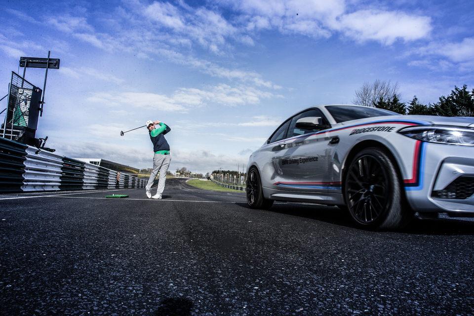 International golfer Rob Brazill tees off at the Bridgestone Orders of Merit launch, Mondello Park, Naas, Kildare, Ireland. 07/03/2019. Picture Fran Caffrey / Golffile.ie