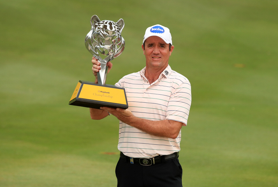 Scott Hend with the Maybank Championship trophy. Picture: Getty Images