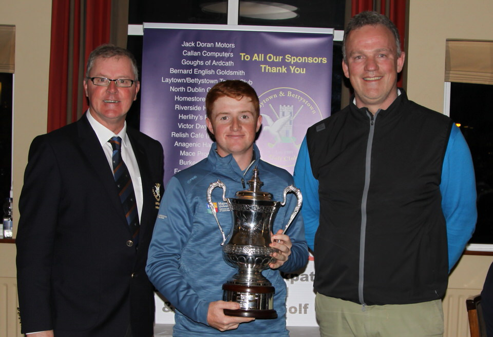 Declan Smyth (Captain) and PGA professional Scott Kirkpatrick (sponsor) with 2019 Laytown and Bettystown Senior Scratch Cup winner Ronan Mullarney from Galway and Maynooth University