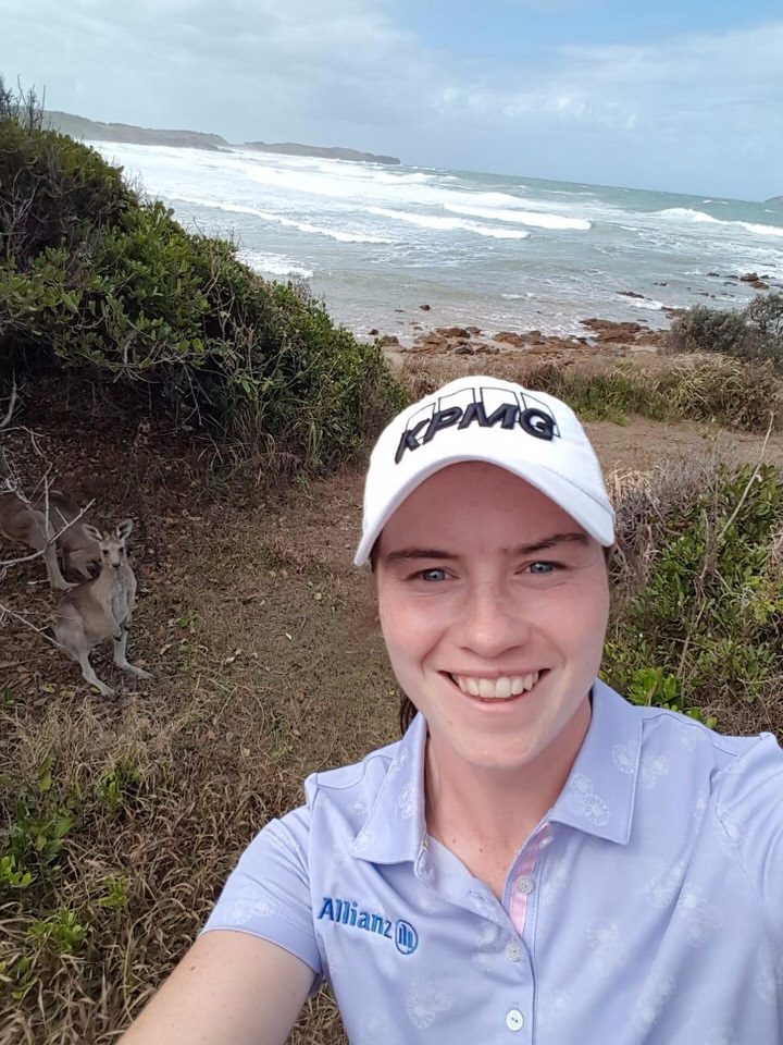 Leona Maguire, who has been globetrotting this season, grabs a selfie with a native in Australia