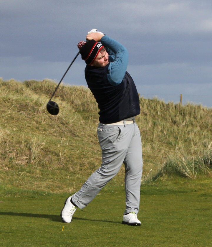 Caolan Rafferty, picture in action at Laytown and Bettystown recently, co-leads the West of Ireland Championship after a second round 66
