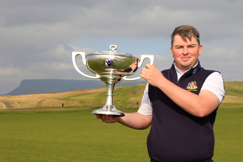 Caolan Rafferty (Dundalk) shows off the trophy following his four-shot win in the West of Ireland Amateur Open Championship at County Sligo Golf Club, Rosses Point, 7th April 2019. Picture: Thos Caffrey /  www.golffile.ie