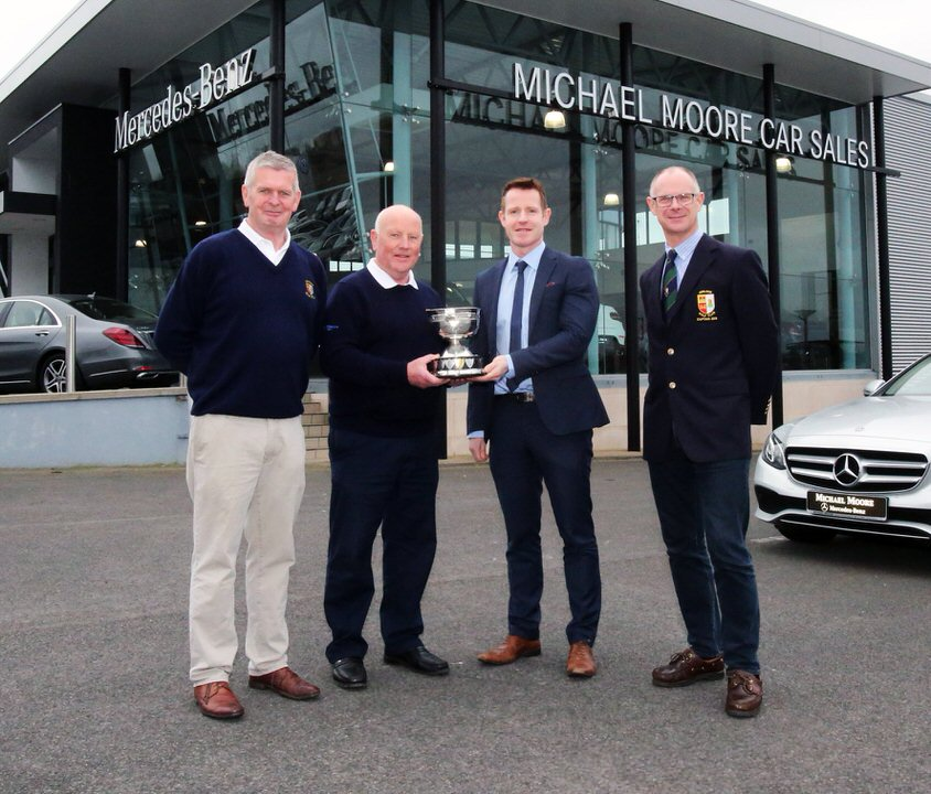 Relaunching the De Lacy Staunton Scratch Cup, set for this coming Sunday, were (left-right) Ray Fagan (Vice Captain, Athlone GC), former winner Paddy Egan, sponsor Michael Moore, and Bryan O'Looney (Captain, Athlone GC).