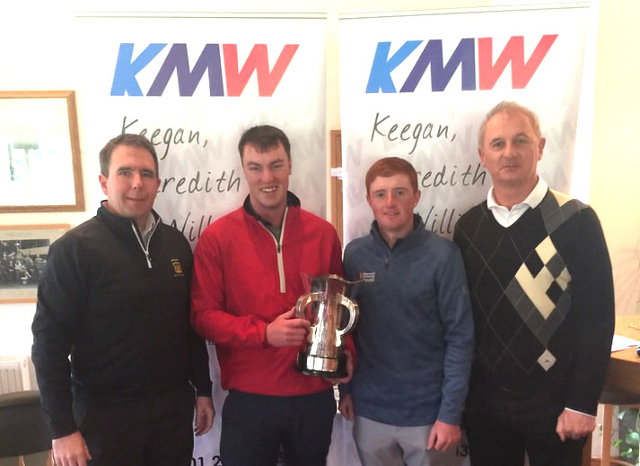(Left to right) Conn Buckley (Grange GC, Captain) Jack McDonnell (Forrest Little), Ronan Mullarney (Galway GC) and sponsor John Williams (KMW) at the presentation for the 2019 Dublin Scratch Foursomes at Grange Golf Club.