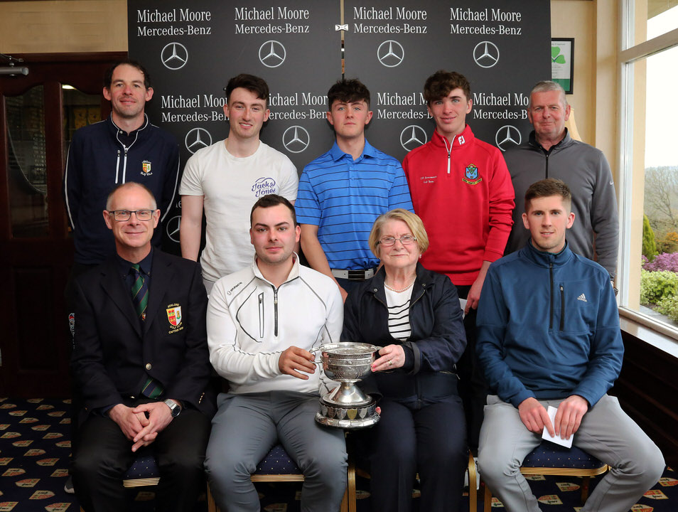 Prize winners In the 2019 De Lacy Staunton Scratch Cup at Athlone. Back row: Patrick Kenny (Athlone), Sean Doyle (Athlone), Eoin Mc Garth (Athlone), Simon Walker (Roscommon), Ray Fagan (Tournament director and Vice Captain AGC. Front row: Bryan O'Looney (Captain, Athlone GC) winner David Reddan, Mary McHale (President, Atlone), runner-up Conor Stone (Carton House)