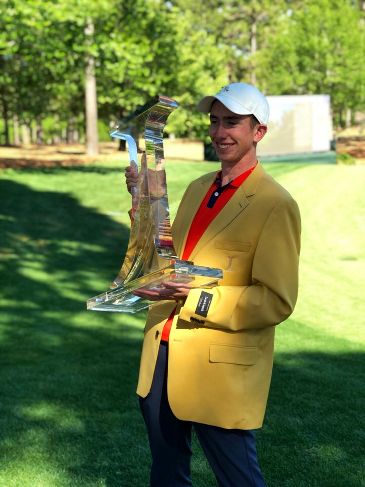 Tom McKibbin with the trophy and winner's jacket