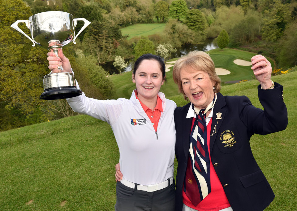 Eleanor Metcalfe (Laytown & Bettystown) with Maefil McDermot (Lady Captain, Hermitage Golf Club) after her victory in the Brady's (Castleknock) sponsored 48th Hermitage Ladies Scratch Cup at Hermitage Golf Club (05/05/2019) Picture by  Pat Cashman