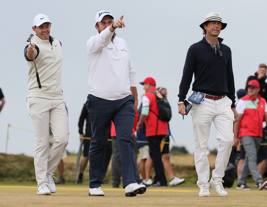 Rory McIlroy, Shane Lowry and Neil Manchip during The Open. Picture: Golffile