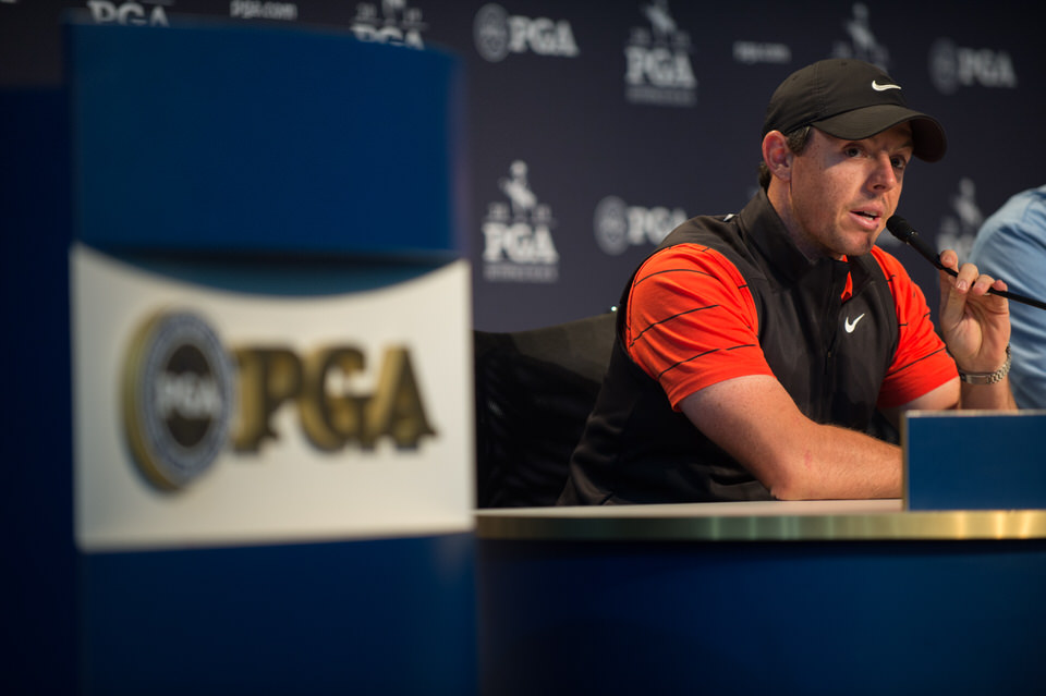 FARMINGDALE, NY - May 14: 2012 and 2014 PGA Champion, Rory McIlroy speaks during a press conference for the 101st PGA Championship held at Bethpage Black Golf Course on May 14, 2019 in Farmingdale, New York. (Photo by Hailey Garrett/PGA of America)