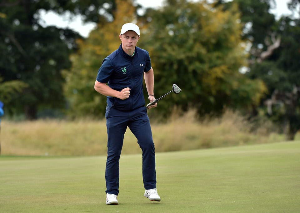 Conor Purcell (Ireland) birdies the 18th green during the third round of the 2018 World Amateur Team Championship ( Eisenhower Trophy) at Carton House Golf Resort, Maynooth, Co Kildare today (07/09/2018). Picture by Pat Cashman