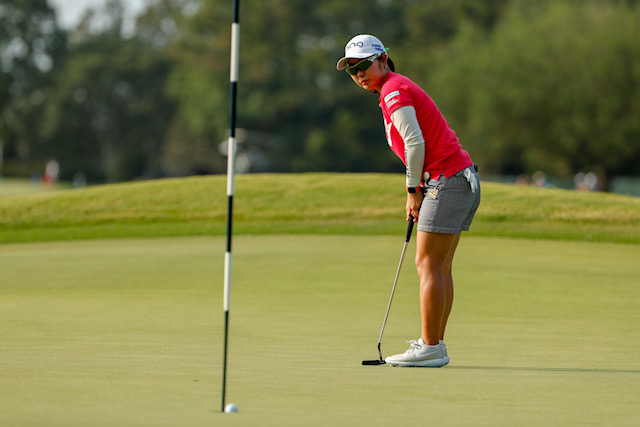 Mamiko Higa makes a birdie putt on the fourth hole during the first round at the 2019 U.S. Women's Open at Country Club of Charleston in Charleston, S.C. on Thursday