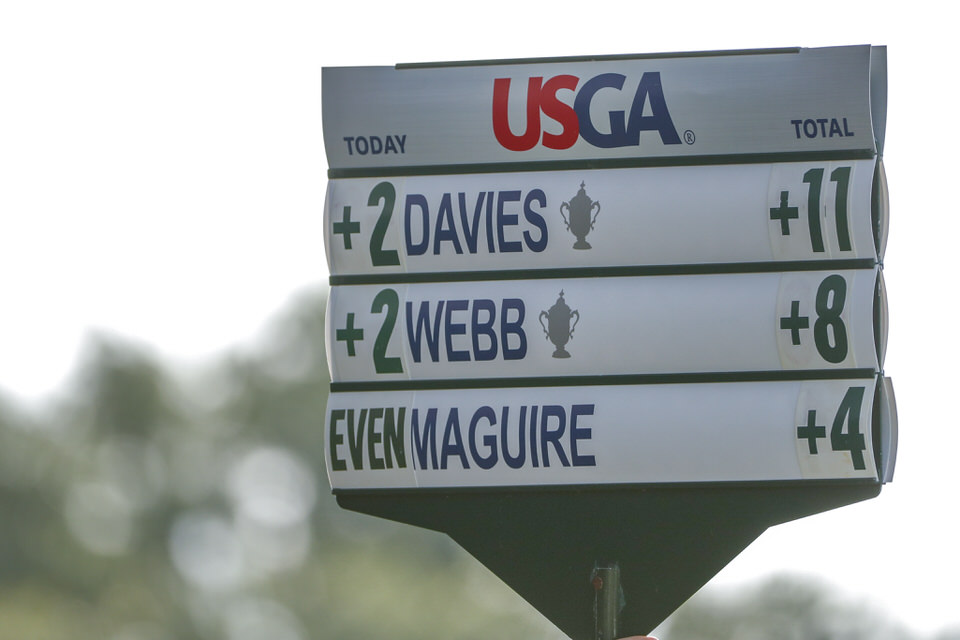 A walking standard showing Leona Maguire's score during the second round at the 2019 U.S. Women's Open at Country Club of Charleston in Charleston, S.C. on Friday, May 31, 2019. (Copyright USGA/Chris Keane)