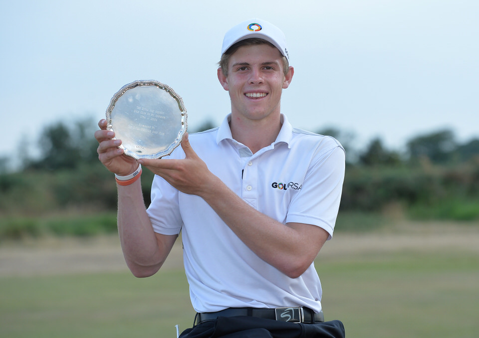 Martin Vorster with the Junior Open trophy at St Andrews last year