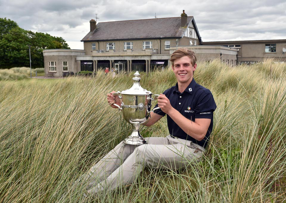 Winner Martin Vorster (South Africa) with The d Hotel sponsored East of Ireland Championship trophy after his victory at County Louth Golf Club  03/06/2019. Picture by  Pat Cashman