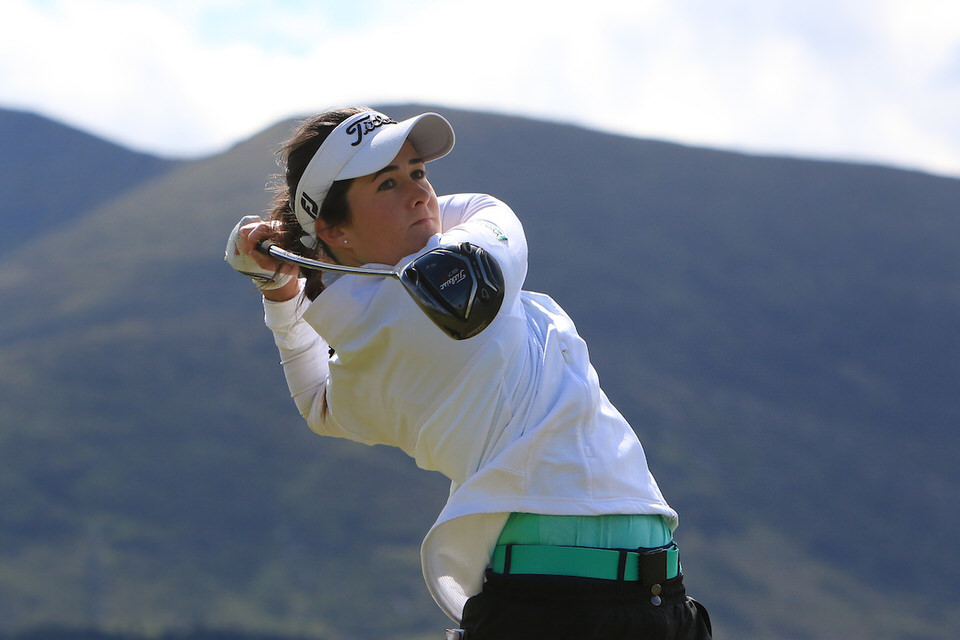 Paula Grant (Lisburn) tees off on the second during the opening round of the Women's Amateur Championship at Royal County Down. Picture: Thos Caffrey /  www.golffile.ie