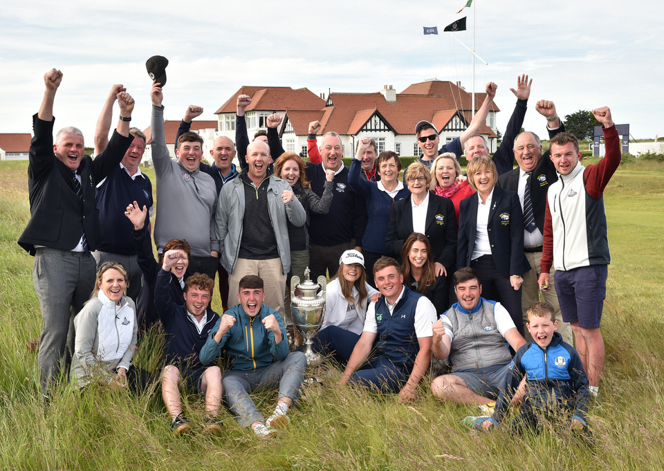 James Sugrue (Mallow) winner of the 2019 The Amateur Championship at Portmarnock Golf Club today (22/06/2019) with Mallow Golf Club members. Picture  Pat Cashman