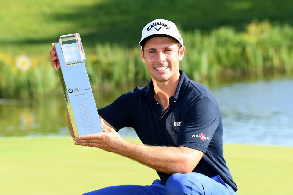Andrea Pavan with the BMW International Open trophy. Picture: Getty