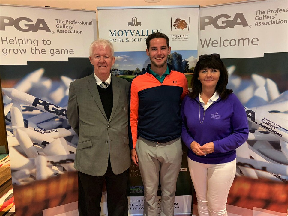 PGA in Ireland Regional Manager, Michael McCumiskey, Brian Casey (Headfort GC) and Moyvalley GC Lady Capt, Eithne McManus