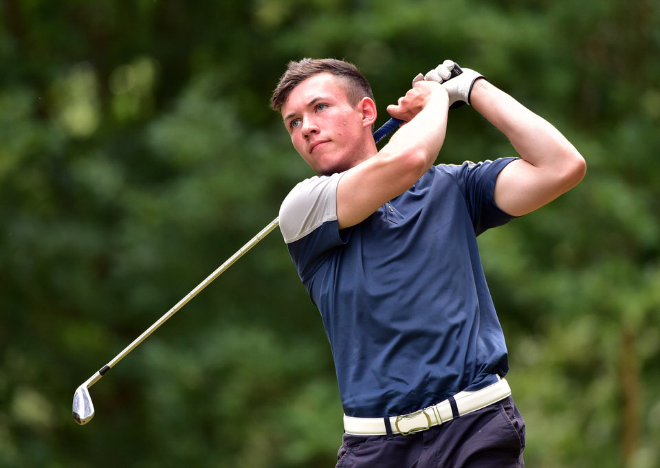 Sean Downes (Royal Dublin) driving at the 12th tee during the first round of the 2018 Irish Boys Amateur Open Championship at Belvoir Park Golf Club today (26/06/2018). Picture by  Pat Cashman