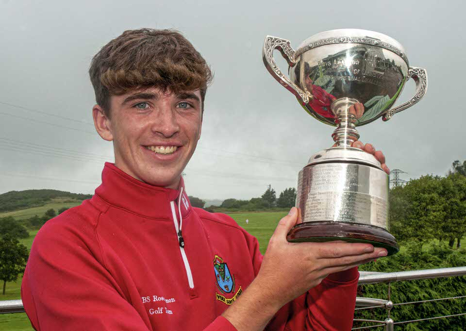 Simon Walker (Roscommon) with the Leinster Boys Trophy. Photo: Ronan Quinlan/ Cashman Photography