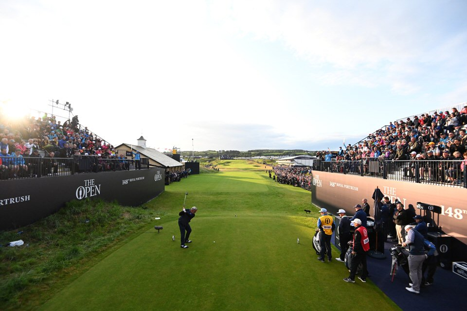 Darren Clarke hits the first shot in the 148th Open. Picture: The R&A
