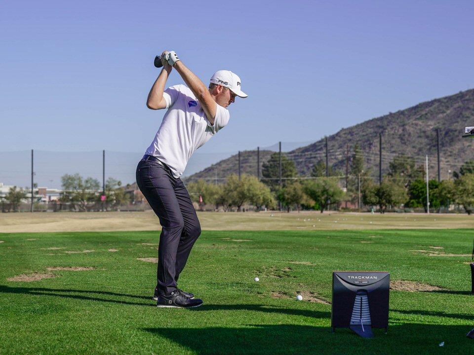 Seamus Power working on his swing