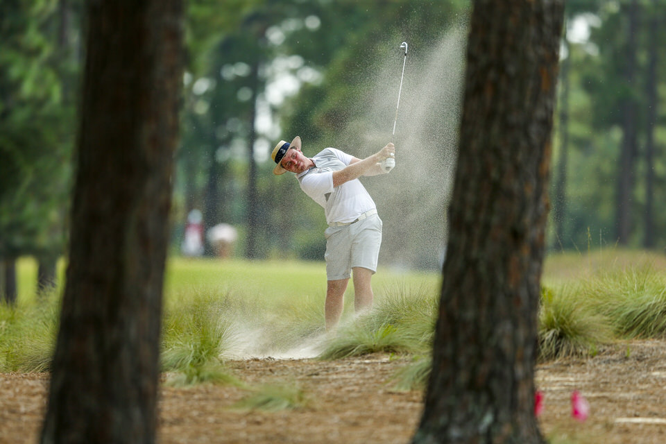 Tom Sloman hits a shot on the 16th hole during the first round of stroke play at the 2019 U.S. Amateur at Pinehurst Resort & Country Club (Course No. 2) in Village of Pinehurst, N.C. on Monday, Aug. 12, 2019. (Copyright USGA/Michael Reaves)