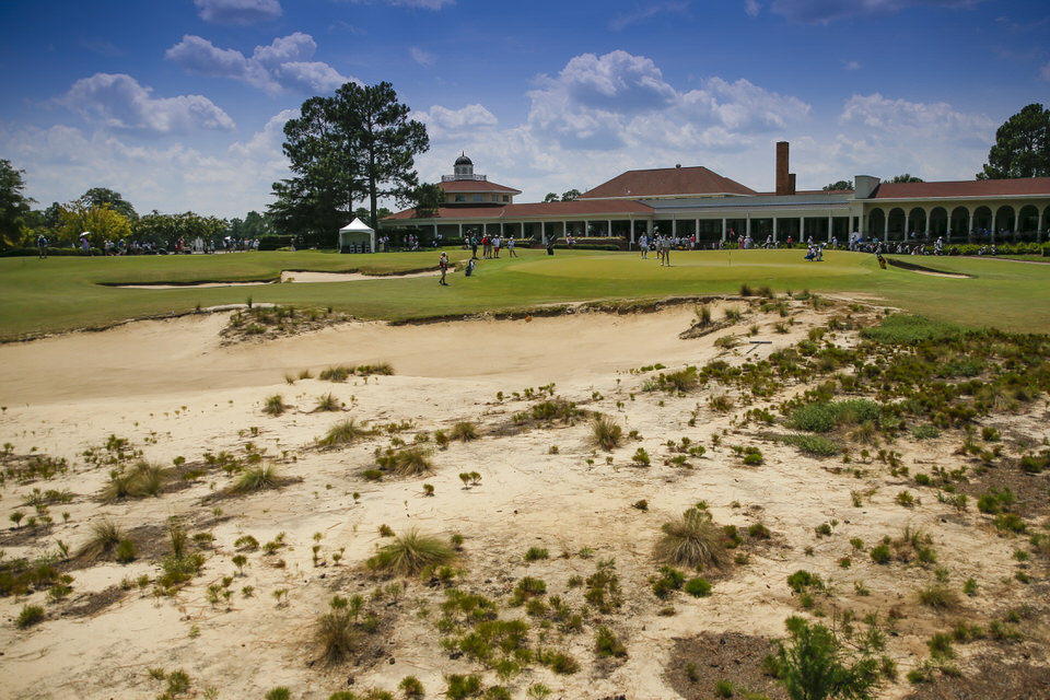 A scenic view of the 18th hole during the first round of stroke play at the 2019 U.S. Amateur at Pinehurst Resort & Country Club (Course No. 2) in Village of Pinehurst, N.C. on Monday, Aug. 12, 2019.  (Copyright USGA/Michael Reaves)