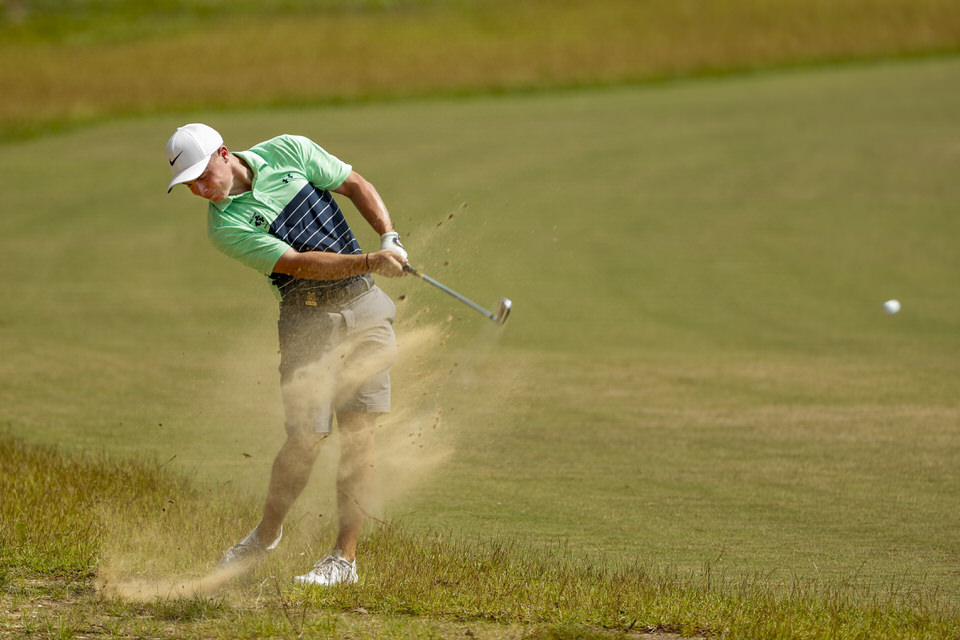 Conor Purcell hits a shot on the 18th hole during the second round of stroke play at the 2019 U.S. Amateur at Pinehurst Resort & Country Club (Course No. 4) in Village of Pinehurst, N.C. on Tuesday, Aug. 13, 2019. (Copyright USGA/Chris Keane)
