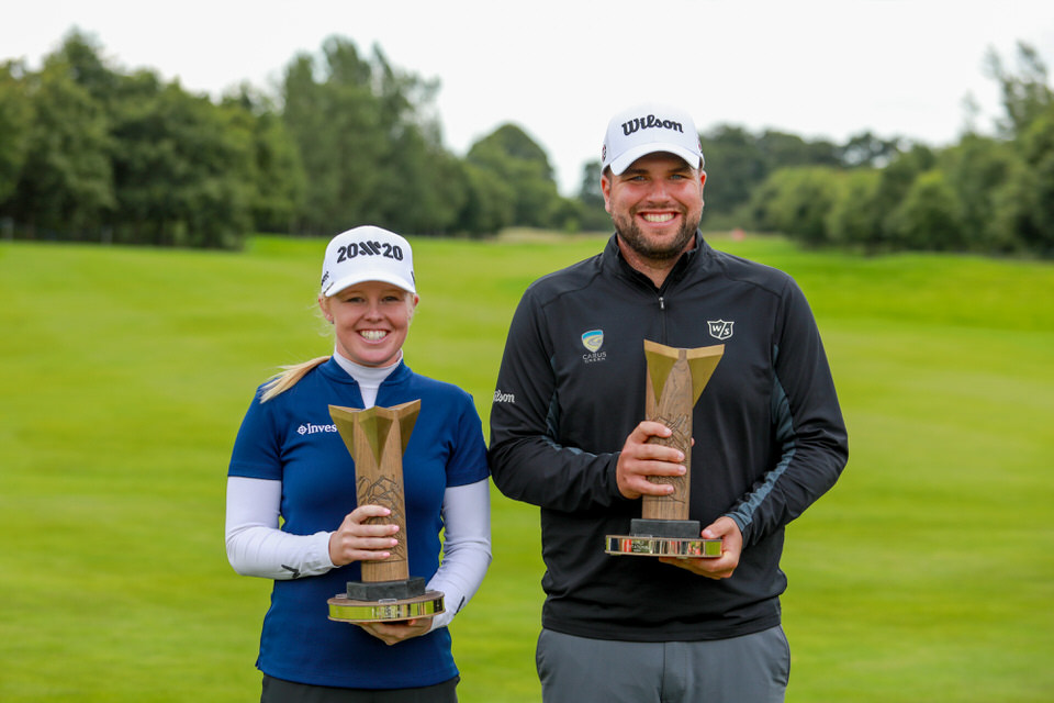 PressEye - Belfast - Northern Ireland - 18th August 2019Fourth and Final Round of the ISPS Handa World Invitational Men / Women. The competition takes place from August 14th - 18th at Galgorm Castle Golf Club and Masserene Golf Club. Pictured: Jack Senior and Stephanie Meadow.Picture: Philip Magowan / PressEye