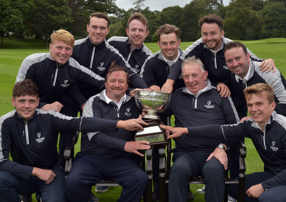 Seamus McParland (Team Captain) and Kevin McIntyre (Team Manager) with the winning Leinster Interprovincial team after their victory in the 2019 Interprovincial Matches at Tullamore Golf Club today (30/08/2019). Team members (from left) Robert Brazill, Alan Fahy, Rowan Lester, Hugh Foley, Keith Egan, Gerard Dunne, Paul O' Hanlon and Robert Moran. Picture by  Pat Cashman