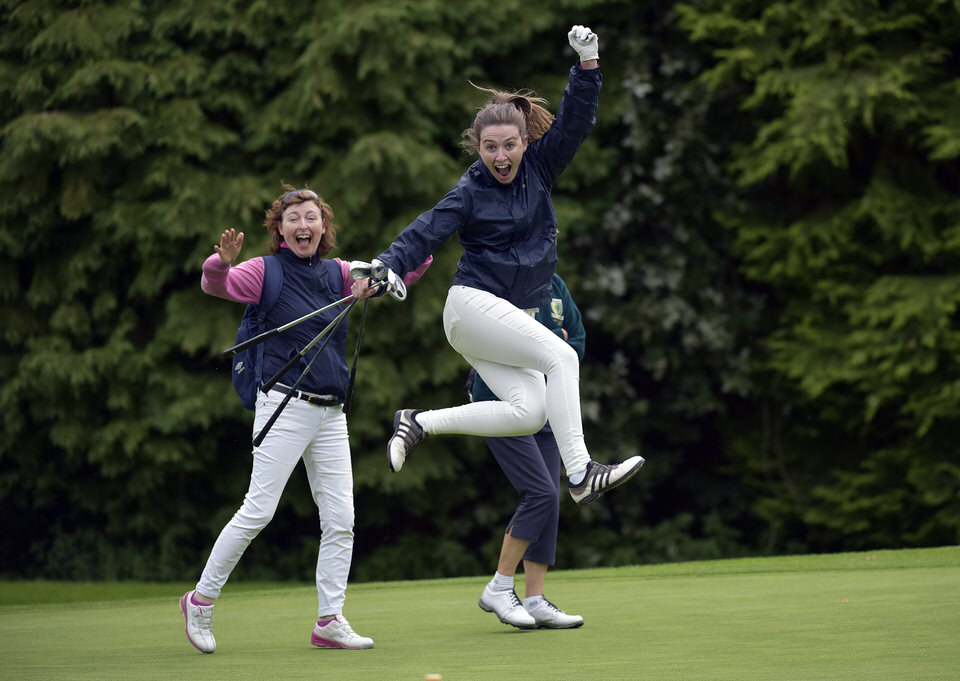 Noreen Sheridan (Rathcore) holes the winning putt on the 16th green to clinch the AIG Challenge Cup at the 2019 AIG Ladies Cups and Shields East Leinster Finals at The K Club Golf Club. Picture by  Pat Cashman