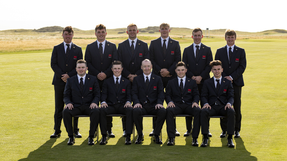 The GB&I Team (left to right) Tom Sloman, Caolan Rafferty, James Sugrue, Conor Purcell, Harry Hall, Great Britain and Ireland Walker Cup team captain Craig Watson, Thomas Plumb, Alex Fitzpatrick, Euan Walker, Conor Gough and Sandy Scott during the flag raising ceremony at the 2019 Walker Cup at Royal Liverpool in Hoylake, England on Friday, Sept. 6, 2019. (Copyright USGA/Chris Keane)
