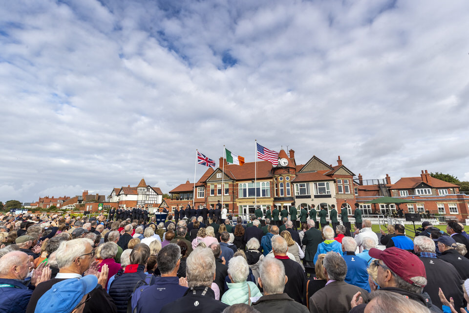 Flags representing the United States, Ireland and United Kingdom during the flag raising ceremony at the 2019 Walker Cup at Royal Liverpool in Hoylake, England on Friday, Sept. 6, 2019.  (Copyright USGA/Chris Keane)