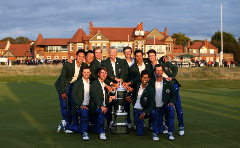 USA Team poses with the trophy following their win in the 2019 Walker Cup at Royal Liverpool. Front row left to right, Alex Smalley, Andy Ogletree, Akshay Bhatia, Stewart Hagestad. Back row left to right, Brandon Wu, John Pak, John Augenstein, Captain Nathaniel Crosby, Alex Smalley, Isaiah Salinda, Cole Hammer. © USGA/Chris Keane