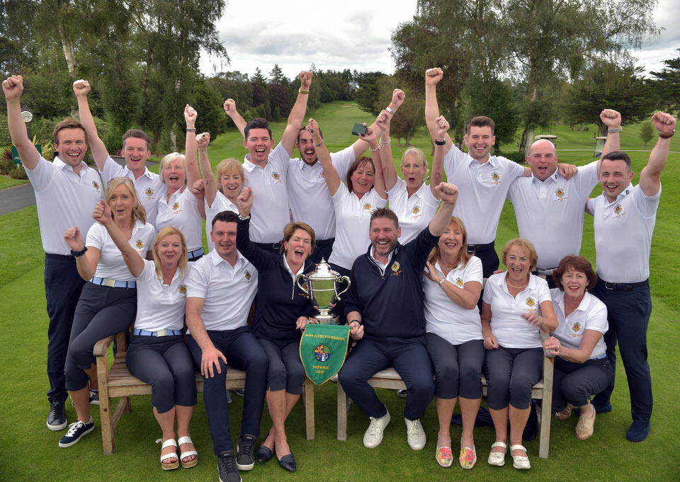 Castle Golf Club's Siobhan McCarthy and Fergal Walsh (Joint Team Managers) celebrate victory with the team and panel in the 2019 Irish Mixed Foursomes All Ireland Finals at Castletroy Golf Club. Picture by  Pat Cashman
