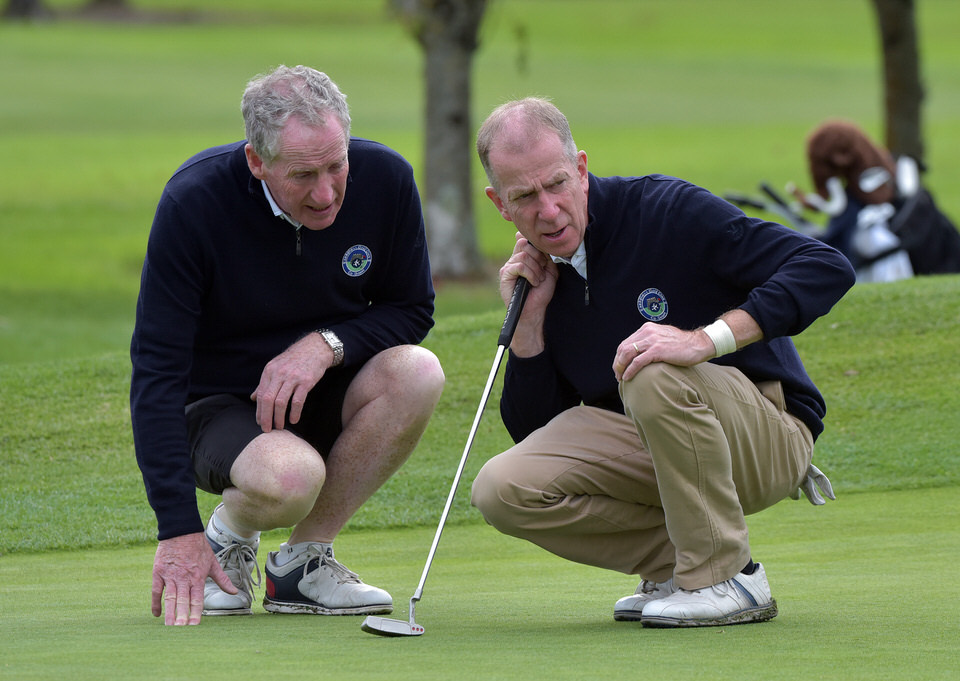 Martin Rourke (Ardglass) with his caddy Jim Cunningham