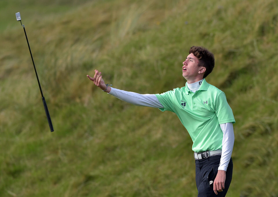 Tom McKibbin (Ireland) reacts to a missed putt on the 14th green during day one of the 2019 Home International Matches at Lahinch. Picture by  Pat Cashman