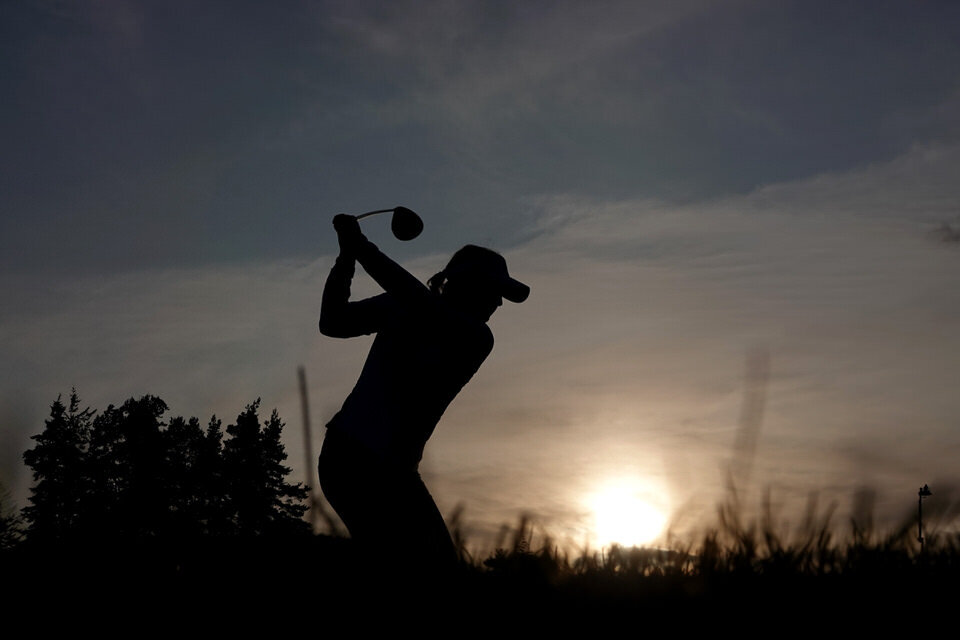 Charley Hull of England in action during the Friday Fourballs. Credit: Tristan Jones