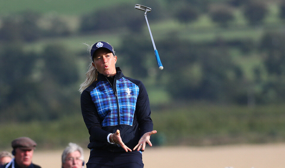 13/09/2019. Ladies European Tour 2019. The Solheim Cup, PGA Centenary Course, Gleneagles Hotel, Scotland. 13-15 September 2019. Suzann Pettersen of Norway throws her putter in the air, after missing a putt. Credit: Matthew Lewis / LET