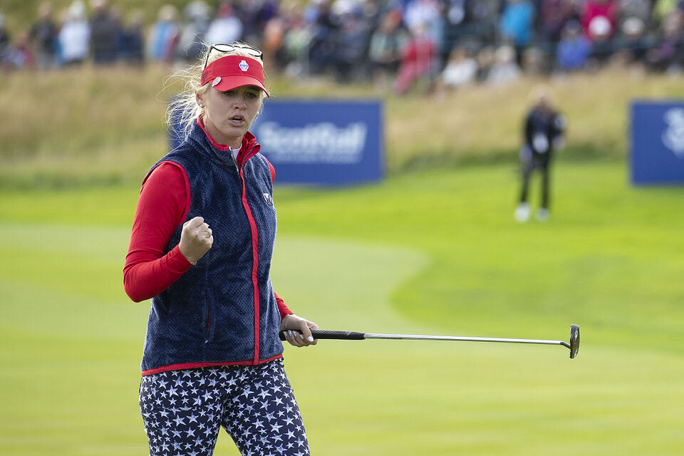 13.09.19. Ladies European Tour 2019. The Solheim Cup, PGA Centenary Course, Gleneagles Hotel, Scotland. 13-15 September 2019. Nelly Korda of the USA celebrates an eagle put on the 9th hole during Friday afternoon foursomes. Credit: Tristan Jones