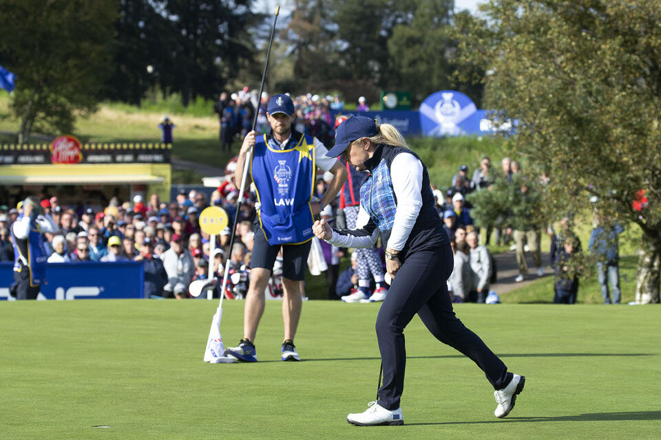 13.09.19. Ladies European Tour 2019. The Solheim Cup, PGA Centenary Course, Gleneagles Hotel, Scotland. 13-15 September 2019. Bronte Law of England celebrates the winning put on the 7th green to go one up during Friday afternoon foursomes. Credit: Tristan Jones