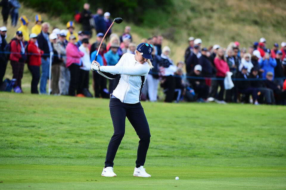 13.09.19. Ladies European Tour 2019. The Solheim Cup, PGA Centenary Course, Gleneagles Hotel, Scotland. 13-15 September 2019. Anna Nordqvist of Sweden takes her second shot to the 9th green during Friday afternoon foursomes. Credit: Mark Runnacles/LET