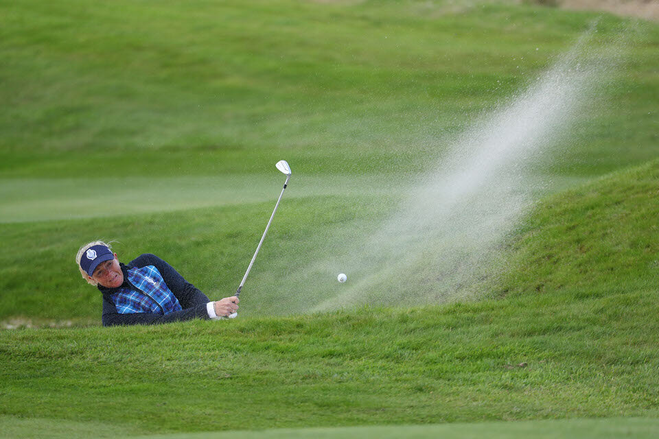 13.09.19. Ladies European Tour 2019. The Solheim Cup, PGA Centenary Course, Gleneagles Hotel, Scotland. 13-15 September 2019. Suzann Pettersen of Norway takes her second shot on the 8th hole during Friday afternoon foursomes. Credit: Matthew Lewis/LET