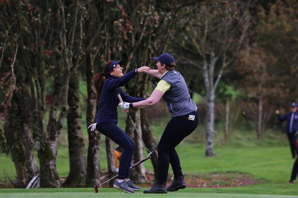 Caroline Hewitt and Angela O'Sullivan celebrate their win for Dun Laoghaire in the Revive Active Ladies National Interclub Fourball Finals at Athenry Golf Club. Picture: Jenny Matthews/ Cashman Photography