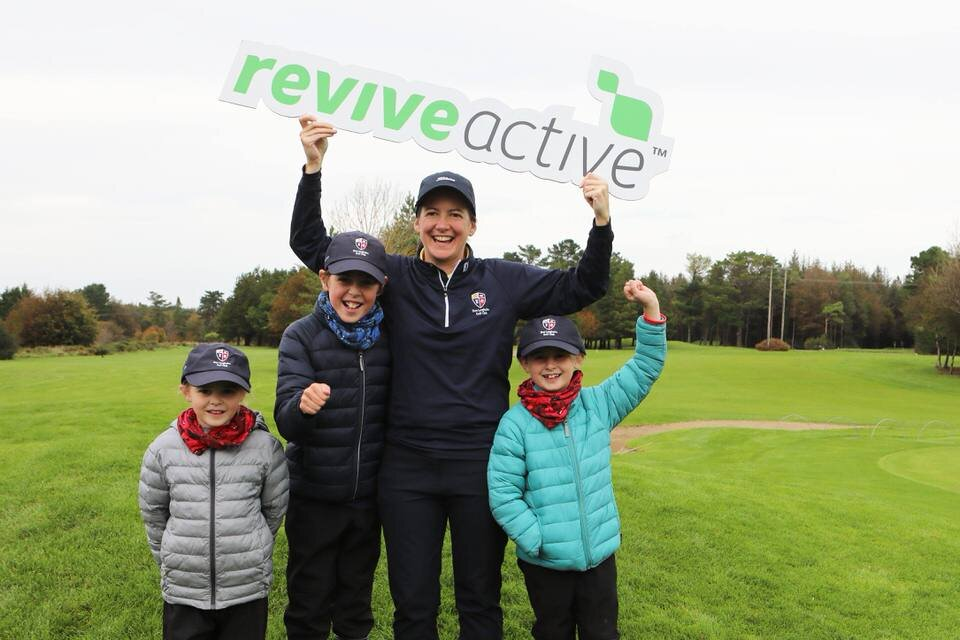 Aine Jolly with her children as DunLaoghaire win the Revive Active Ladies National Interclub Fourball Finals at Athenry Golf Club.image by Jenny Matthews (www.cashmanphotography.ie)