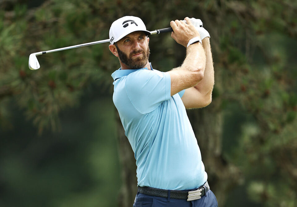 CROMWELL, CONNECTICUT - JUNE 28: Dustin Johnson of the United States plays his shot from the fifth tee during the final round of the Travelers Championship at TPC River Highlands on June 28, 2020 in Cromwell, Connecticut. (Photo by Elsa/Getty Images)