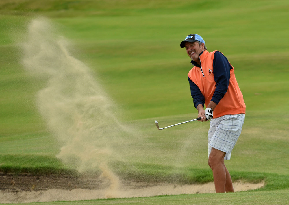 Adrian Morrow (Portmarnock) bunkered at the 9th hole in the final round of the 2016 Irish Seniors Amateur Close Championship at Tralee Golf Club. Picture by  Pat Cashman