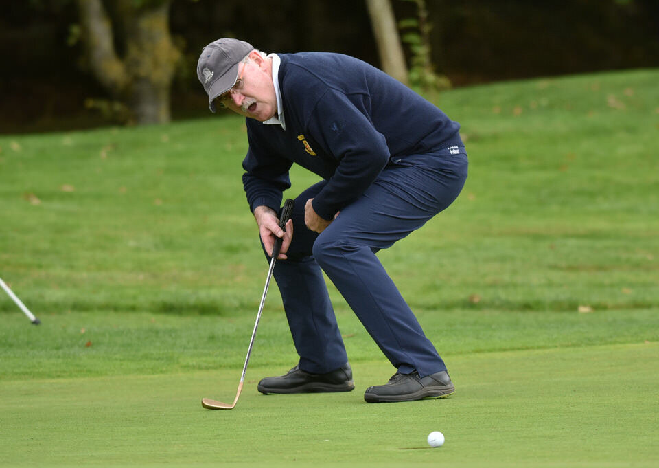 Declan Corcoran (Athlone) reacts to his putt on the 19th green in the semi final of the 2018 Pierce Purcell Shield at Thurles Golf Club. Picture by  Pat Cashman