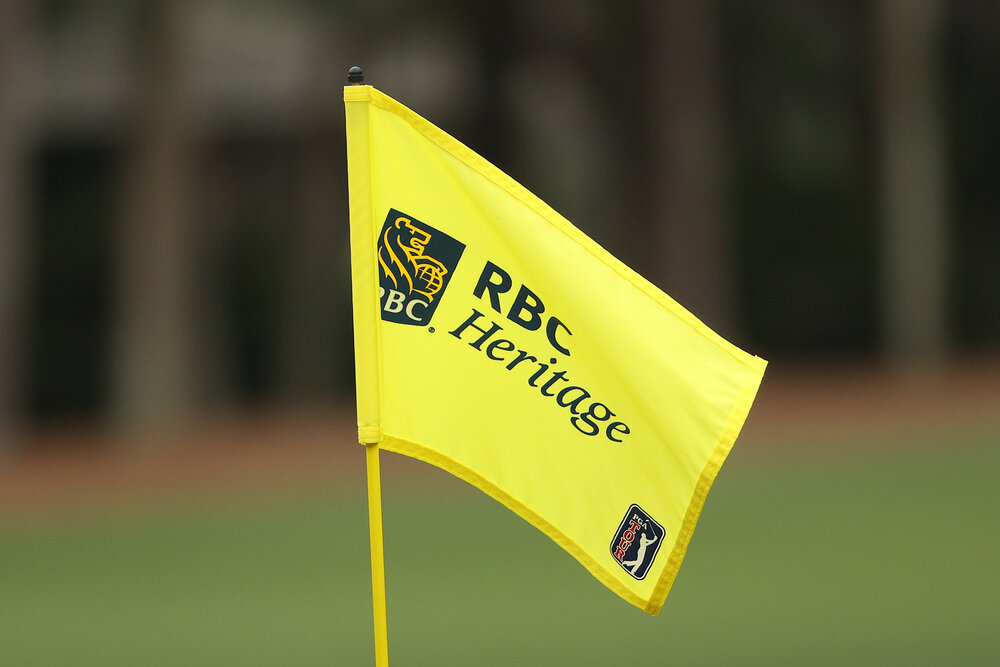 HILTON HEAD ISLAND, SOUTH CAROLINA - APRIL 16: A detail of a pin flag on the eighth hole during the second round of the RBC Heritage on April 16, 2021 at Harbour Town Golf Links in Hilton Head Island, South Carolina. (Photo by Patrick Smith/Getty Images)